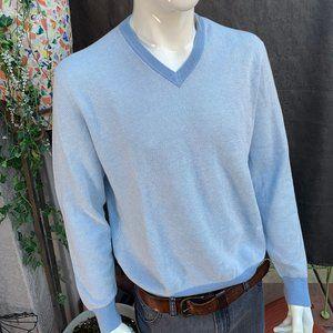 NEIMAN MARCUS V-Neck Cashmere Sweater Blue Lg NWT